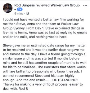 5 star review on our personal injury lawyers sydney