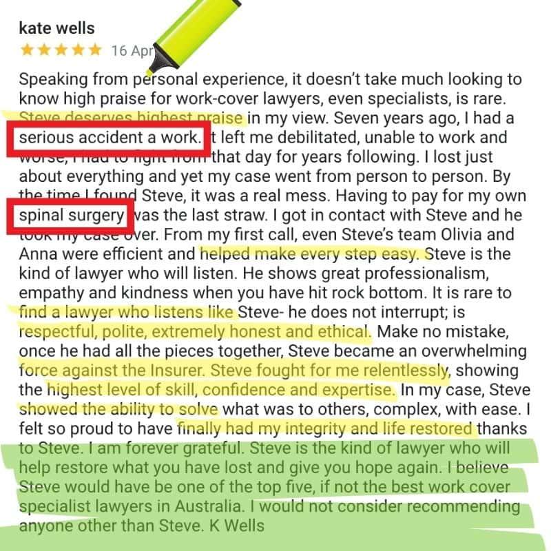 5Star Google Review Spinal Wordplace Injury Claim