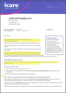 icare weekly payments claim letter lawyer sydney